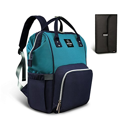 Pipi bear Diaper Bag Travel Backpack Large Capacity Tote Shoulder Nappy Bag Organizer for Baby Care with Insulated Pockets,Waterproof Fabric (Lake Blue-Dark Blue) ()