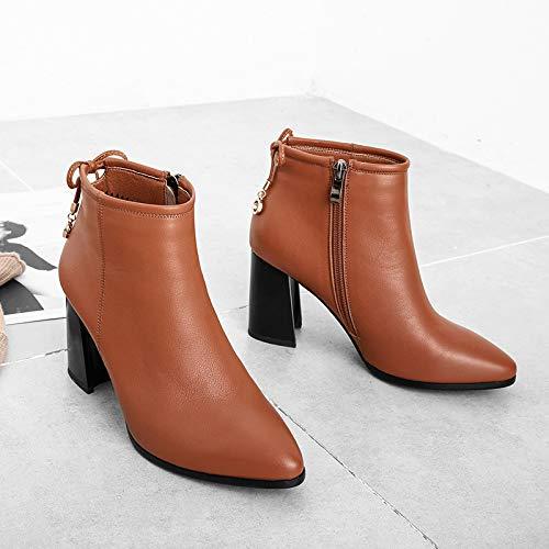 HOESCZS Bottes en Cuir Pointues Talons Épaisses des Chaussures À Talons Pointues Femmes Automne Hiver 34|Caramel 88e7f5