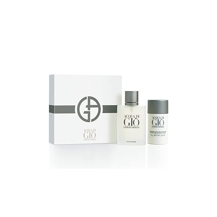 Acqua Di Gio By Giorgio Armani For Men Edt Spray 3.4 Oz & Alcohol Free Deodorant Stick 2.6 Oz