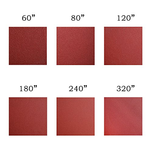 Denveo Dry Sanding Disc 60/80/120/180/240/320 Grit 5 Inch and Sandpaper Assortment, Hook and Loop System Red Paint and Steel Sanding for Random Orbital Sander, Pack of 60 (8 Holes) by Denveo (Image #3)