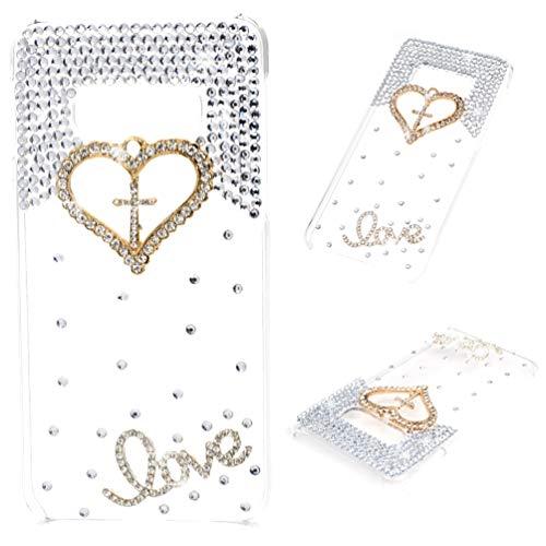 Galaxy S10E Case - Mavis's Diary 3D Handmade Bling Crystal Golden Love Heart Cross with Shiny Diamonds Gems Clear Cover Hard PC Case for Samsung Galaxy S10E