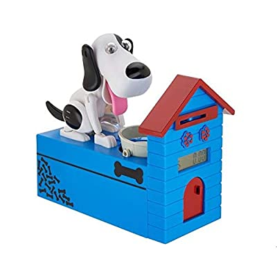Mindscope Hungry Pet Coin Bank Animatronic Dog LCD Display Digital Automatic Counting Coin Piggy Bank Works with All U.S.A. Coins: Toys & Games