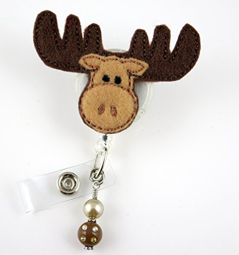 Cute Moose - NurseBadge Reel - Retractable ID Badge Holder - Nurse Badge - Badge Clip - Badge Reels - Pediatric - RN - Name Badge Holder
