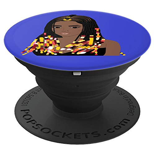 Natural Hair CORNROW BRAIDS and BEADS BLUE 3 - PopSockets Grip and Stand for Phones and Tablets