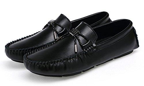 Tda Heren Eenvoudige Pure Kleur Knoop Lederen Bedrijf Rijden Penny Loafers Zwart