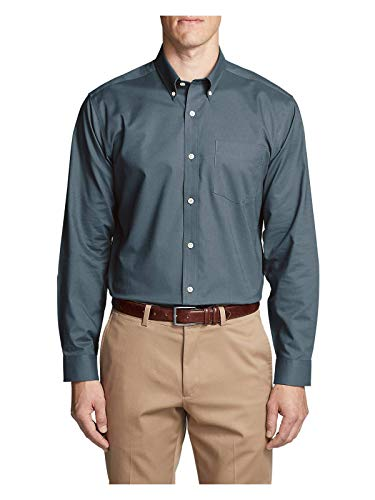 Oxford Relaxed Fit Oxford Shirt - Eddie Bauer Men's Wrinkle-Free Relaxed Fit Oxford Cloth Shirt - Solid, Winter Bl