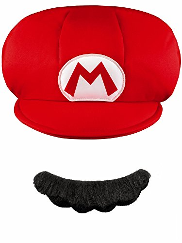 Nintendo Super Mario Brothers Mario Child Hat and Mustache, One Size Child