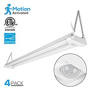 4 PACK 4ft Linkable LED Motion Activated Utility Shop Light, 40W (120W T8 Tubes Equiv.) LED Ceiling Fixture, 4100lm, ENERGY STAR & ETL Listed, 5000K Daylight, for Garage/Basement/Workshop
