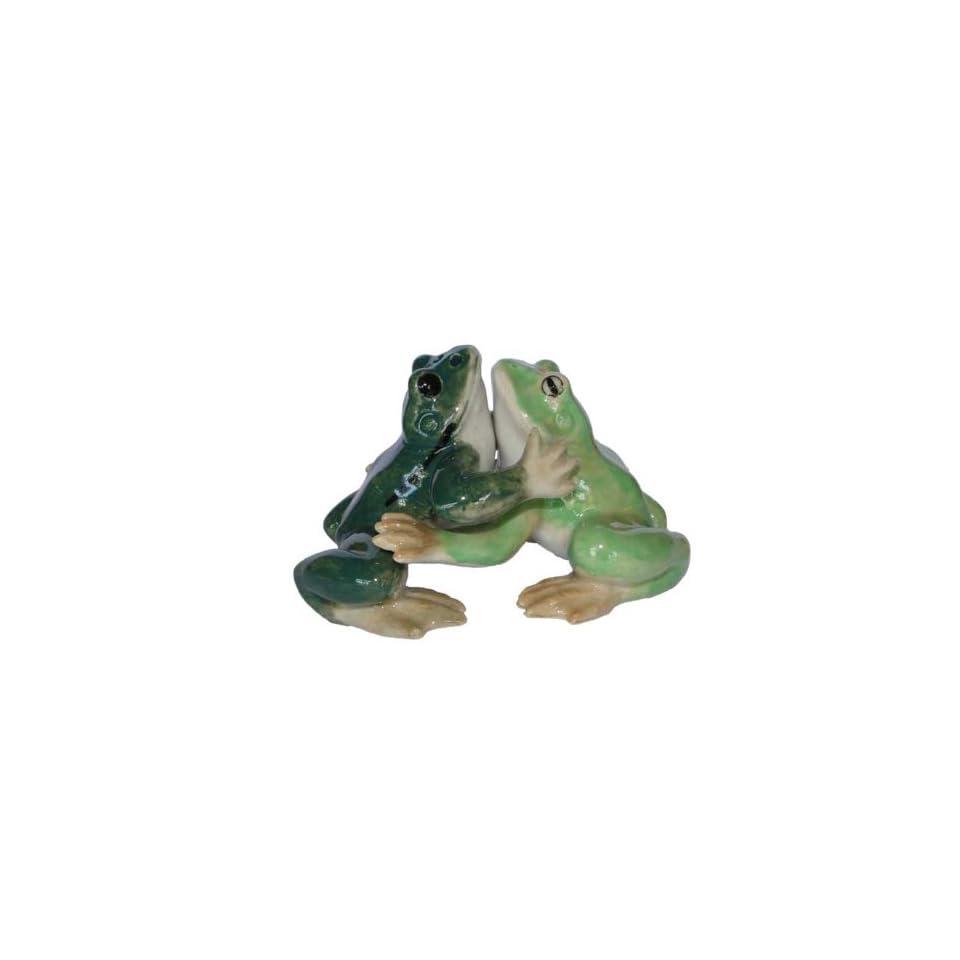 SALT and PEPPER Shakers FROGS 1 Dark Green 1 Light Green Hug MINIATURE New Porcelain KLIMA L871 Kitchen & Dining