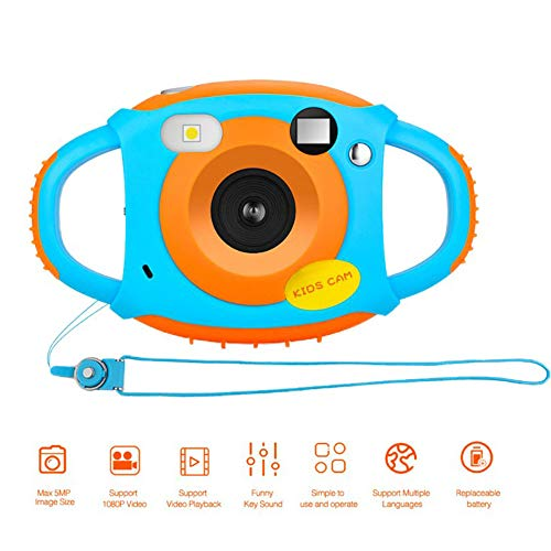 ILYO Kids Camera, WiFi 1.5-Inch Screen Children's Camera with 4X Digital Zoom 7-Color Filter Effect Flash and Microphone Anti-Fall Boy Girl Birthday