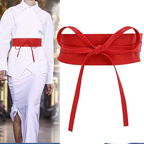 CHIC DIARY Fashion Women Faux Leather Bow Tie Waistband Elastic Stretch Waist Strap Cummerbund Waist Band Belt for Dress ()