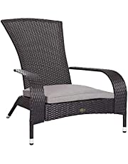 Patio Sense 62430 Coconino Wicker Adirondack Chair, Black