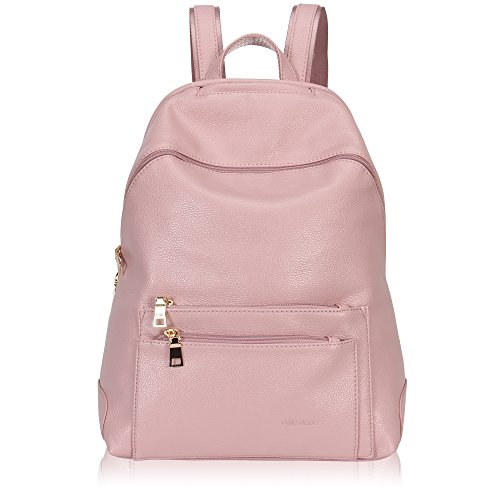 Veevan Plain Synthetic Leather Women Backpack Multi Pockets (Dark Silver) Pink