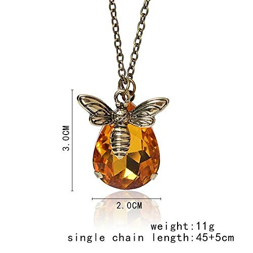 Fashion Vintage Crystal Pendant Necklace Bumble Bee Necklace Lover Gift - Satin Pendant Asian