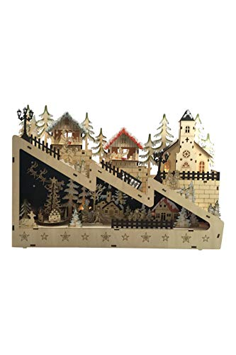 LED Lighted Wooden Bavarian Christmas Village Mountain Town - Tabletop Holiday Decoration (Church)