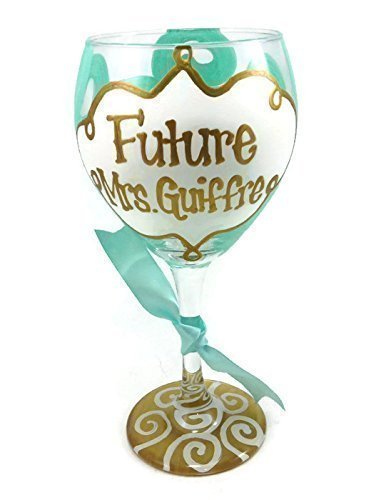 Hand Painted Future Mrs. Bride Personalized Wine Glass Wedding Engagement Light Blue and - Personalized Glasses Party Wedding