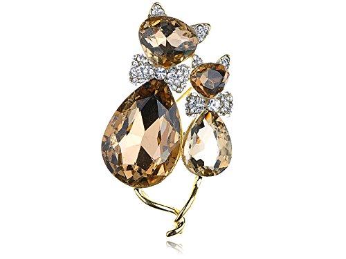 Alilang Adorable Cute Light Smoked Topaz Crystal Rhinestone Kitty Cat Animal Pin Brooch