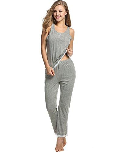 Womens Cami Top Pants (Avidlove Womens Sexy Lightweight PJs Pajamas Set with Tank Lace Sleepwear, Gray, Medium)