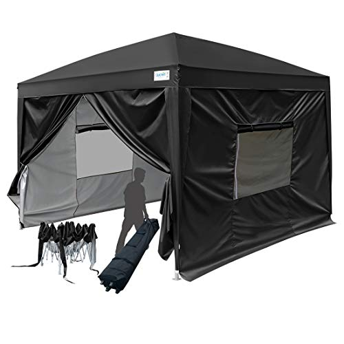 (Quictent Privacy 8x8 EZ Pop Up Canopy Party Tent Folding Gazebo with Sidewalls and Mesh Windows 100% Waterproof (Black))