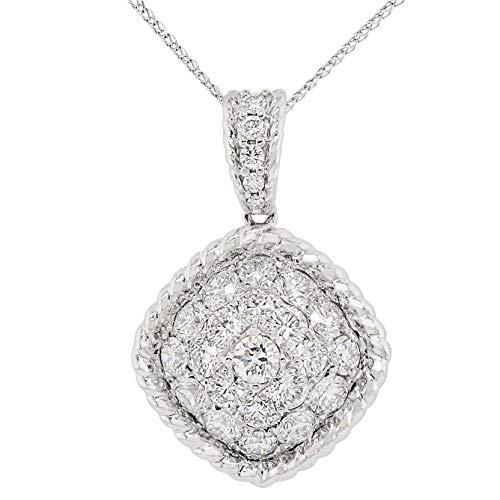 Precious Stars Jewelry 18k White Gold 1-1/3ct TDW White Diamond Square Cluster Pendant ()