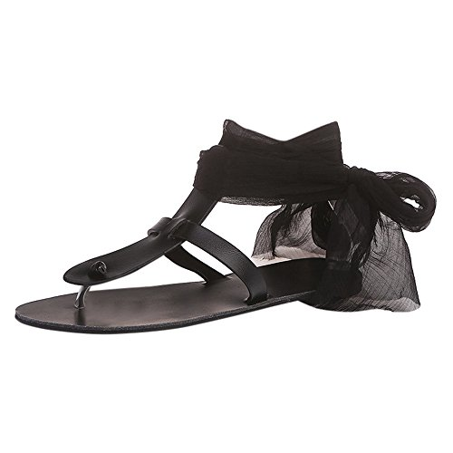 TnaIolral Women Sandals Cross Strap Ribbon Flat Ankle Roman Shoes