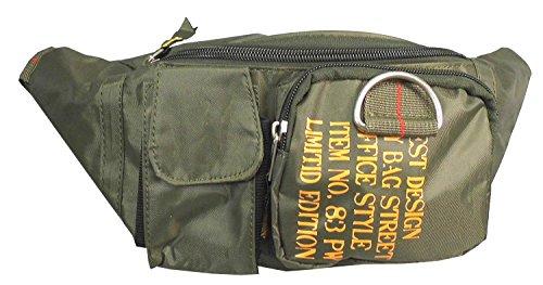 NB24 Bauchtasche (2351-1) Größe ca. 26 x 14 x 12 cm, Gürteltasche Damenbekleidung Herrenbekleidung khaki aus Nylon, Bag Street, Geldtasche, Geldbörse