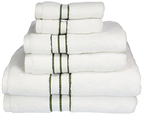 (Superior 900 GSM Hotel Collection 6-Piece Cotton Bath Towel Set, White/Forest Green)