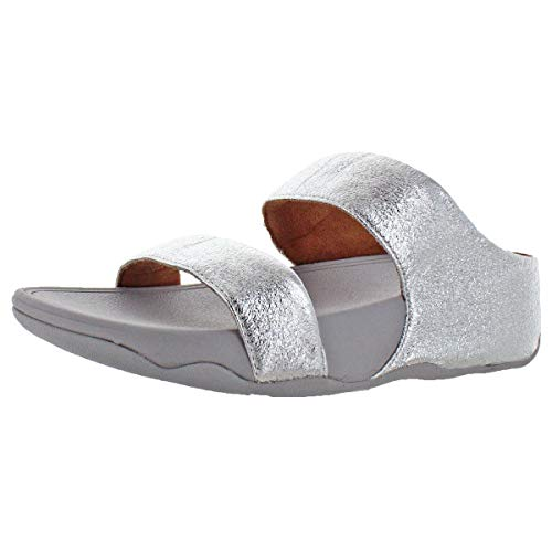 FitFlop Women's Lulu Glitzy Slide Leather Wedge Sandals Shoes Silver Size 9