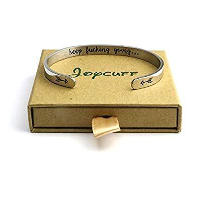 Joycuff Inspirational Gifts for Women Cuff Bracelet Bangle Stainless Steel Engraved Come Gift Box