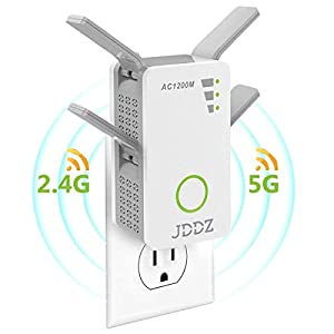 WiFi Range Extender, Internet Signal Booster Wireless Repeater 2.4GHz 5GHz Dual Band Up to 1200 Mbps Work for House Basement 360 Degree Full Coverage from JDDZ