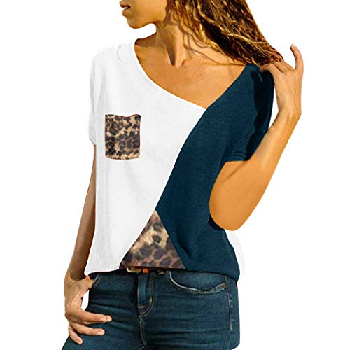 Women's Color Block Tops,Cenglings Irregular O-Neck Short Sleeve Patchwork Leopard Print Pocket Top T-Shirt Plus Size Tops White
