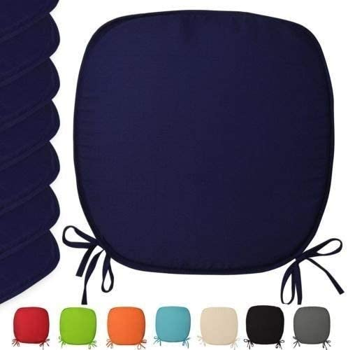 Pack of 2, Brown Luxury Garden Dining Chair Foam Cushions Tie On Seat Pads in set of 2,4,6 or 8