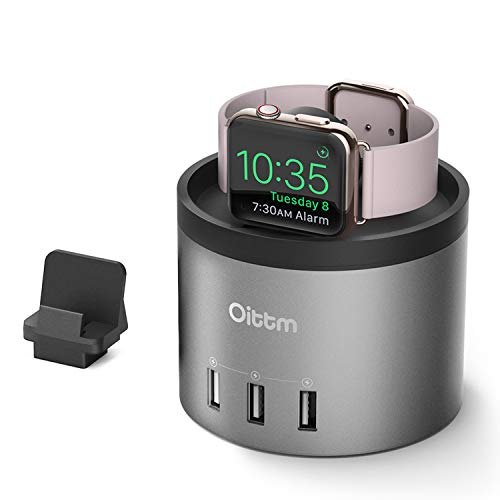 Oittm Charging Stand for Apple Watch Series 4 [2 in 1 Bracket Power Dock] 4-Port USB Charging Station w/Phone Holder for iPhone Xs, Xs Max, Xr, X, 8 Plus, 7, 6 Plus, iWatch 4/3/2/1 (Grey) ()