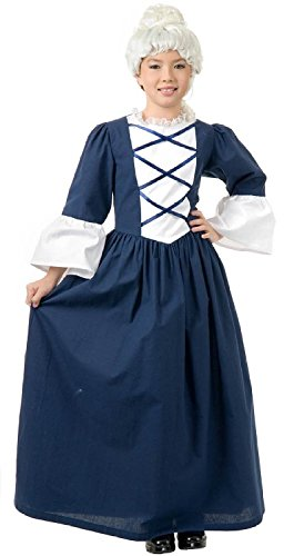 Colonial Costumes Dress Girl (Martha Washington Child Costume - Medium)