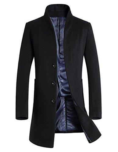 Coat Warm Men's Overcoat Fit Black FUNFOA Wool Trench Single Winter Fashion Breasted Long Fashion Slim 4XZgU