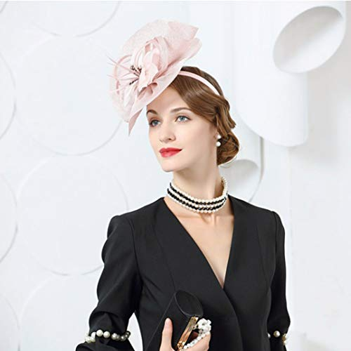 For Pillbox Beret Fedoras Formal Cocktail Olado Women Elegante Rosado Fascinator Hat Black Derby XOx5qRax