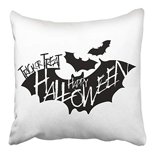 Emvency Decorative Throw Pillow Case Cushion Cover Autumn Happy Halloween Trick Treat Text on Flying Bat Silhouette Black and Dark 20x20 Inch Cases Square Pillowcases Covers Two Sides Print -