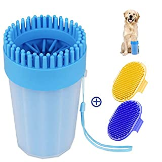 Adenta Paw Washer for Dogs, Portable Pet Feet Cleaner for Medium Dogs, Large-Sized Dog Paw Washer Cup with Soft Silicone Bristles, Paw Cleaner Set with Two Dog Cleaning Brushes