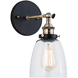 Light Society Camberly Wall Sconce, Clear Glass Shade with Brushed Bronze Finish, Vintage Modern Industrial Farmhouse Lighting Fixture (LS-W130)