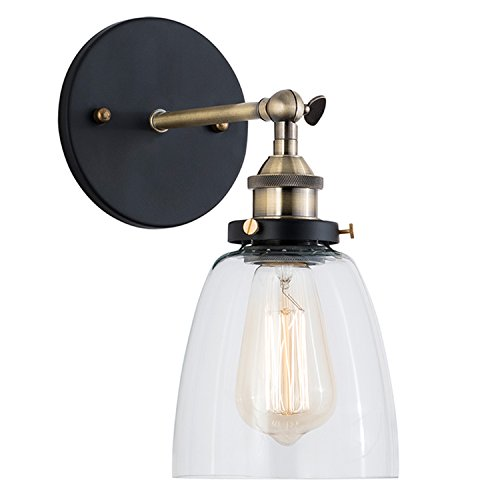 (Light Society Camberly Wall Sconce, Clear Glass Shade with Antique Brass Finish, Vintage Modern Industrial Farmhouse Lighting Fixture (LS-W130))