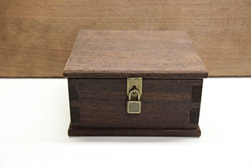 Wooden Keepsake Box/Ash Box, Made of Peruvian Walnut Wood with Antique Decorative Hardware, Lock and Keys by Lyman Creek Woodworks