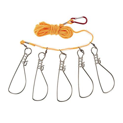 Lixada 5 Snaps Stainless Steel Fish Stringer Rope Lanyard Fish Lock Fishing Accessories Tackle Tool