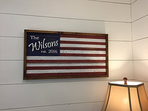 Personalized Wooden Flag / Barn Wood American Flag / Personalized Family Name Sign / Family Established Sign / Personalized Wedding Gift For Sale