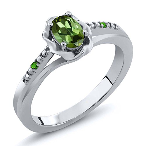 0.51 Ct Oval Green Tourmaline Green Simulated Tsavorite 925 Sterling Silver Ring (Size 7)