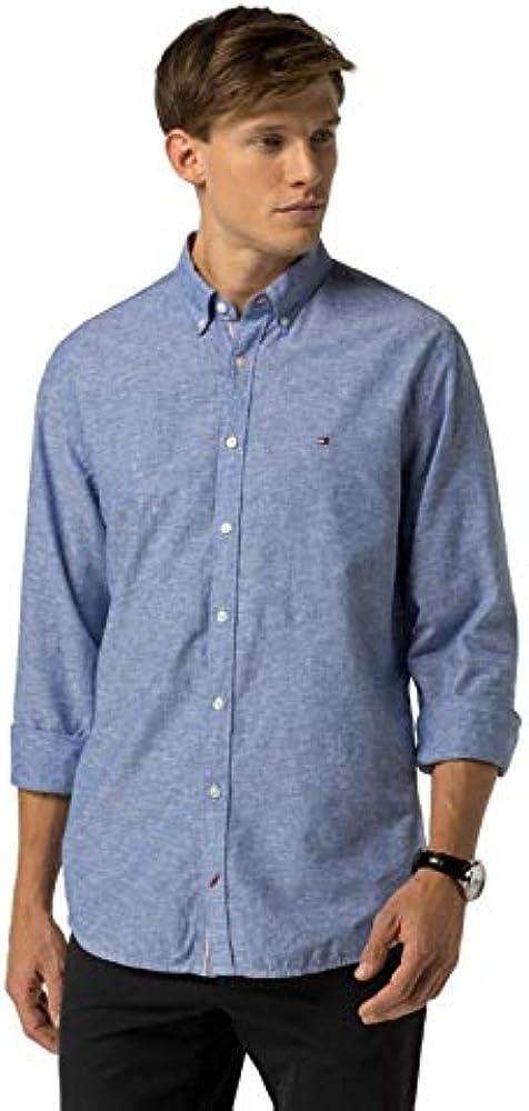 Tommy Hilfiger MW0MW04730-404 Cotton-Linen - Camiseta de manga corta para hombre, color celeste Celeste (Blue) XXL: Amazon.es: Ropa y accesorios