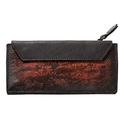 Long Holder Leather Dip with Organizer Card Red Wallet Fire ZLYC Removable Card Dye Handmade 1qt5xwn6IP