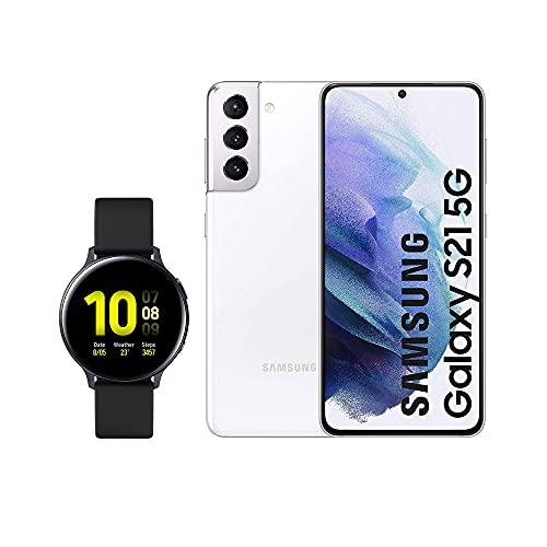 SAMSUNG Smartphone S21 5G 256 GB Blanco con Watch Active 2