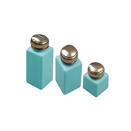 Calunce Nail Polish Remover Press Pump Dispenser Alcohol Bottle Pack of 3 (100ml+200ml+250ml, Blue, 3) ()