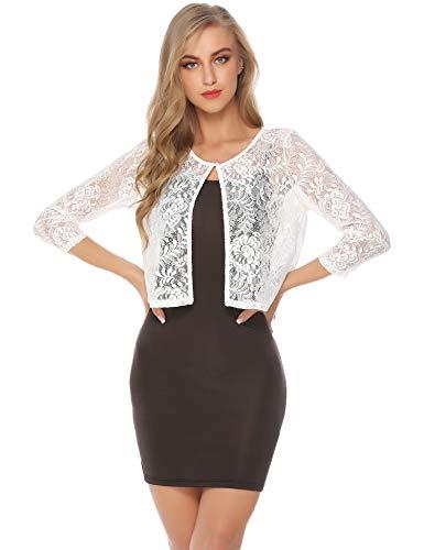 - Abollria Women's Bolero Lace Long Sleeve Sheer Shrug Crochet Cardigan for Dresses White