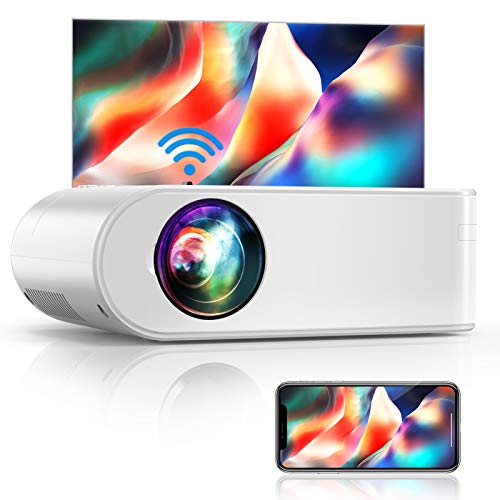 """YABER V2 WiFi Mini Projector 6000L [Projector Screen Included] Full HD 1080P and 200"""" Supported, Portable Wireless Mirroring Projector for iOS/Android/TV Stick/PS4/PC Home & Outdoor (White)"""